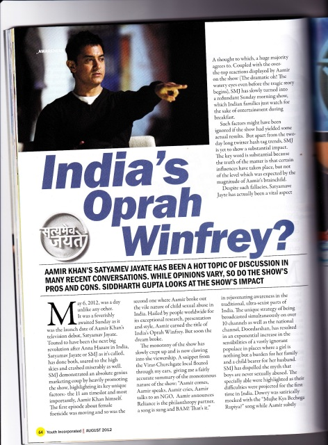 India's Oprah? article in Youth Incorporated Magazine Page 1