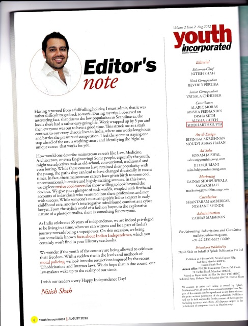 Youth Incorporated Magazine,Editor's Note,August 2012