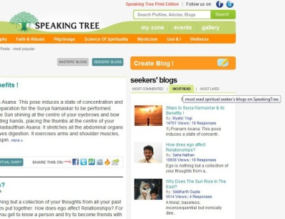 The Speaking Tree is a spiritual discussion forum run by the Times Of India