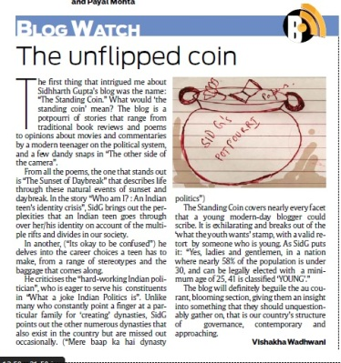 The Standing Coin Featured in DNA Mumbai Edition Page 4 on 18th April 2013